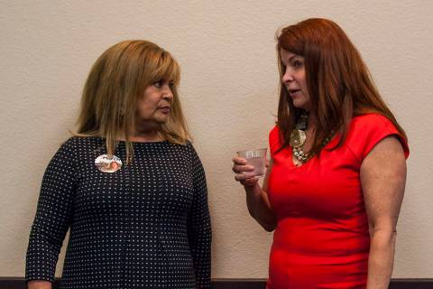 Debra March, right, speaks with publicist Elizabeth Trosper at the Henderson Convention Center, ...