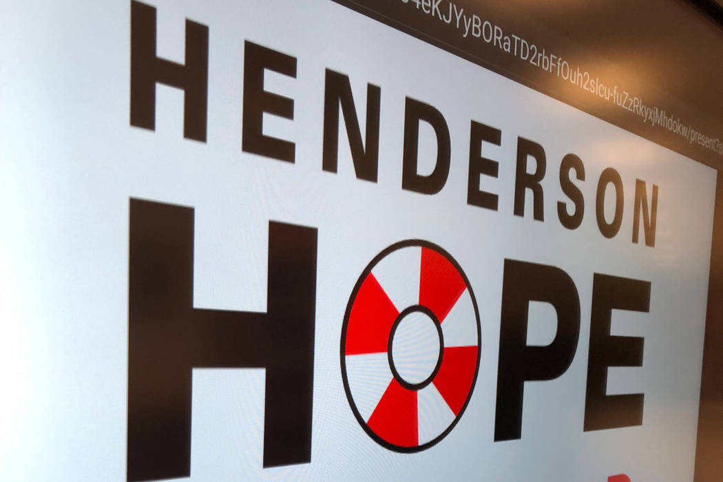 """A sign for """"Henderson Hope Squad"""" is pictured during a kick-off event Dec. 9 at Miller Middle ..."""
