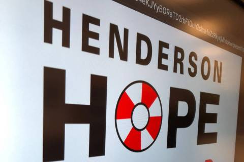"A sign for ""Henderson Hope Squad"" is pictured during a kick-off event Dec. 9 at Miller Middle ..."