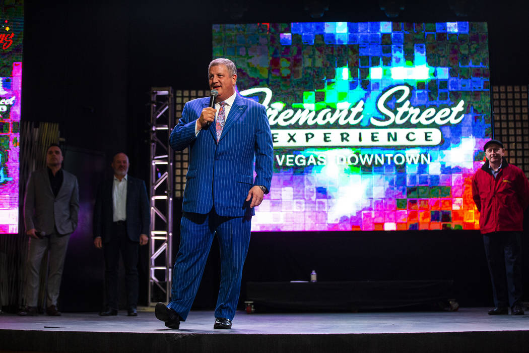 Derek Stevens, owner and CEO of multiple downtown properties, speaks before a preview of the ne ...