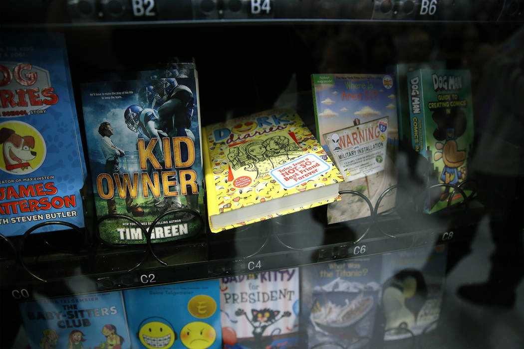 A book vending machine after an unveiling ceremony at Frank Kim Elementary School in Las Vegas, ...