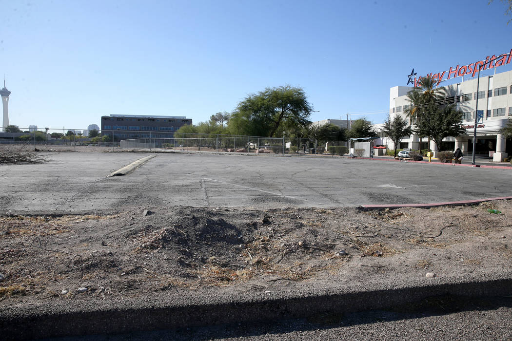 A 9-acre parcel of land at Shadow and Pinto lanes in Las Vegas Tuesday, Oct. 29, 2019, is the p ...
