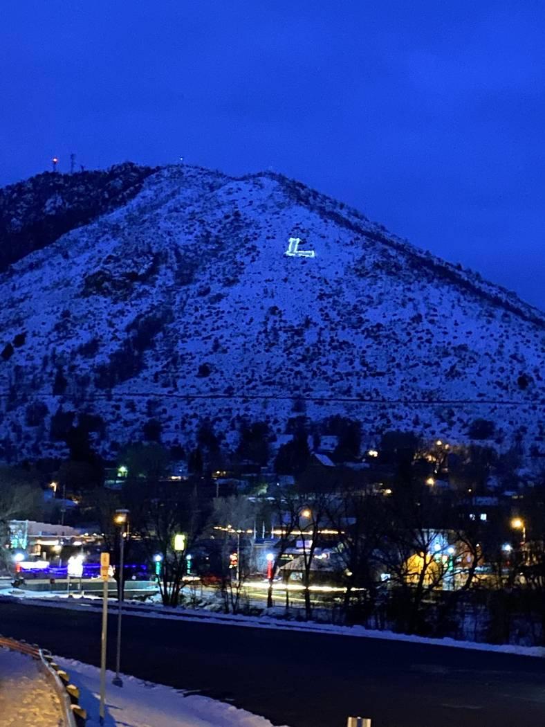 "The famed, illuminated ""L"" overlooking Lava Hot Springs, Idaho. (John Katsilometes/Las Vegas Re ..."
