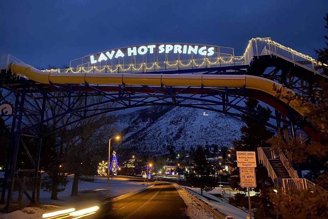 The walking bridge entering Lava Hot Springs, Idaho. (John Katsilometes/Las Vegas Review-Journa ...