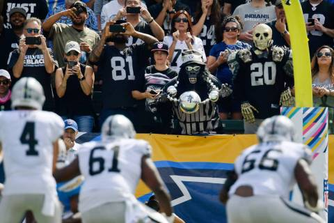 Oakland Raiders fans look on during the first half of an NFL football game against the Los Ange ...