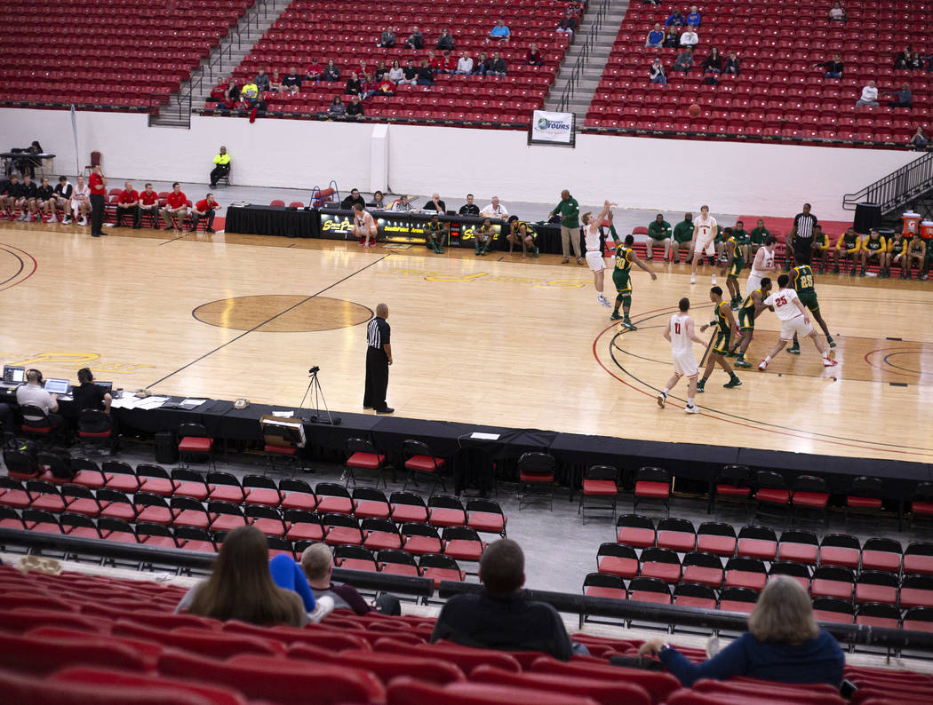 University of Wisconsin-River Falls plays New Jersey City University to a small audience during ...
