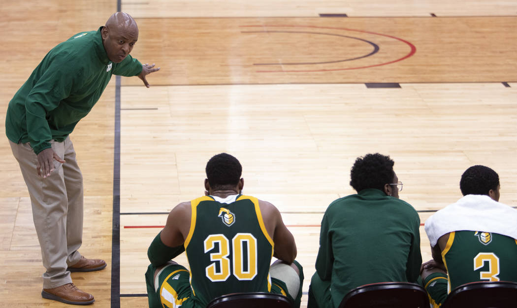 New Jersey City University's head coach Marc Brown shouts at his players during the D3 Hoops Cl ...
