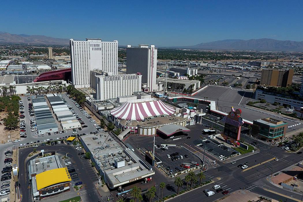 An aerial photo Circus Circus Oct. 4, 2019. (Michael Quine/Las Vegas Review-Journal) @Vegas88s