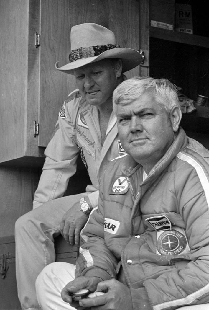 In this May 4, 1978, photo, driver Cale Yarborough, left, and his team owner, former driver Jun ...