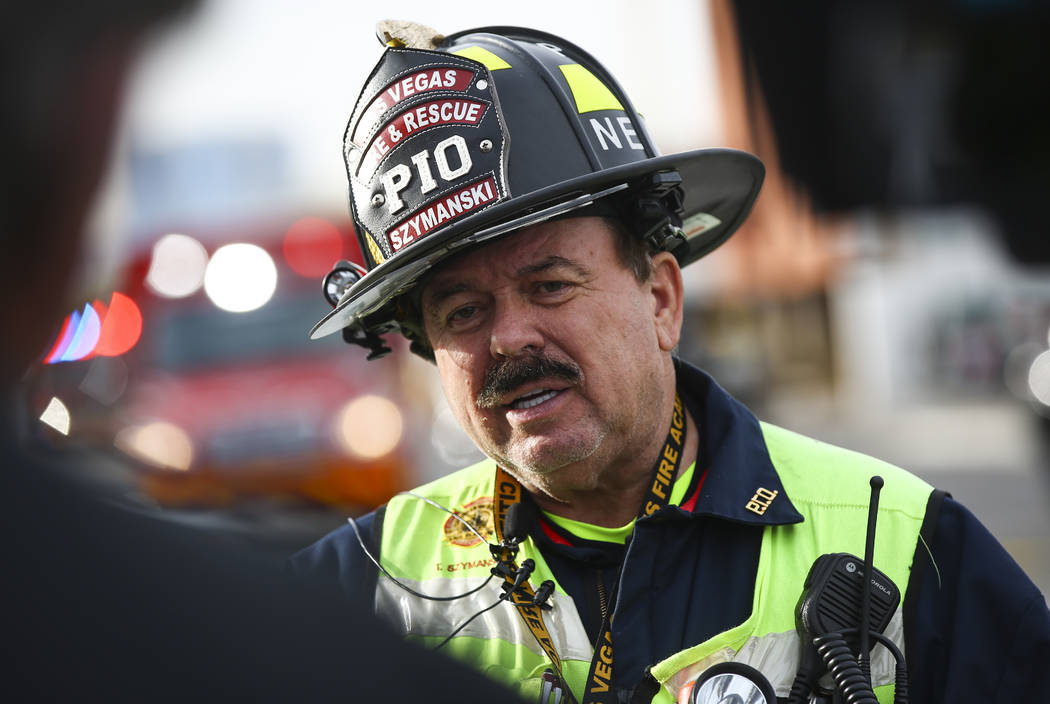 Las Vegas Fire & Rescue spokesman Tim Szymanski talks about a fire at the Alpine Apartment ...