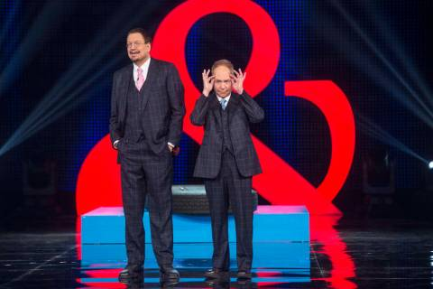 "Penn Jillette, left, and Teller star in ""Penn & Teller: Fool Us"" on The CW Network. (Jacob Kep ..."