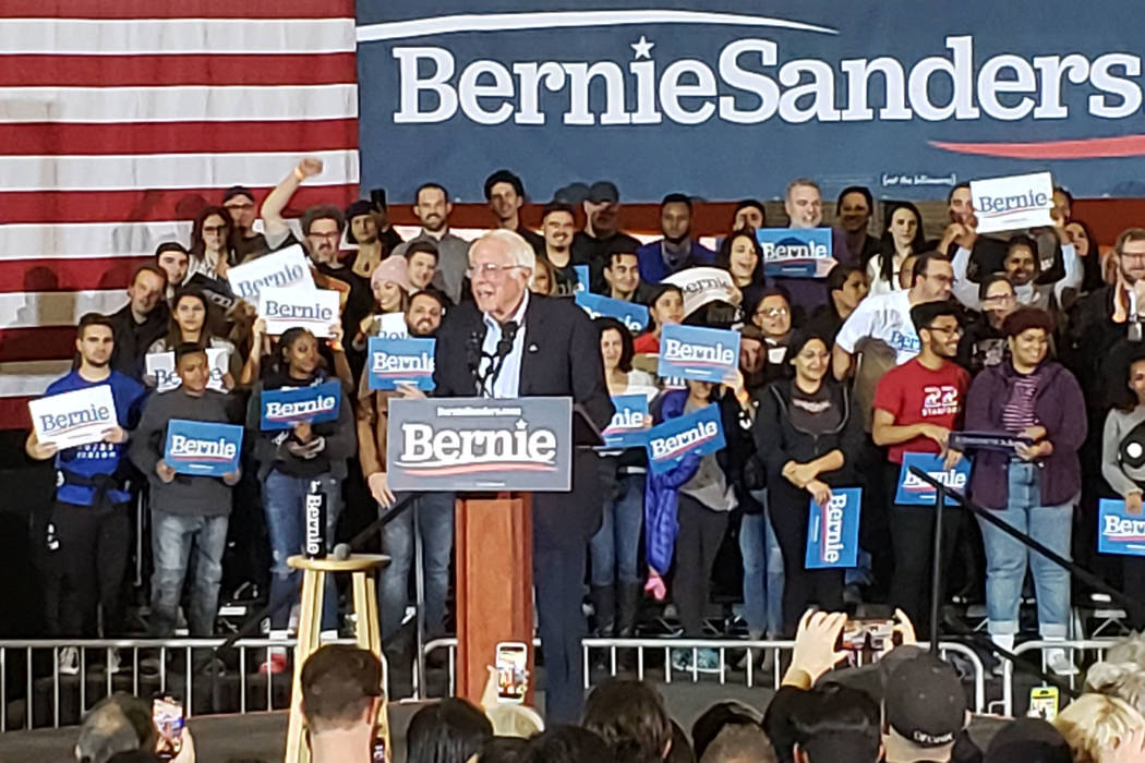 Democratic presidential candidate Sen. Bernie Sanders, I-Vt., center, speaks at a campaign rall ...
