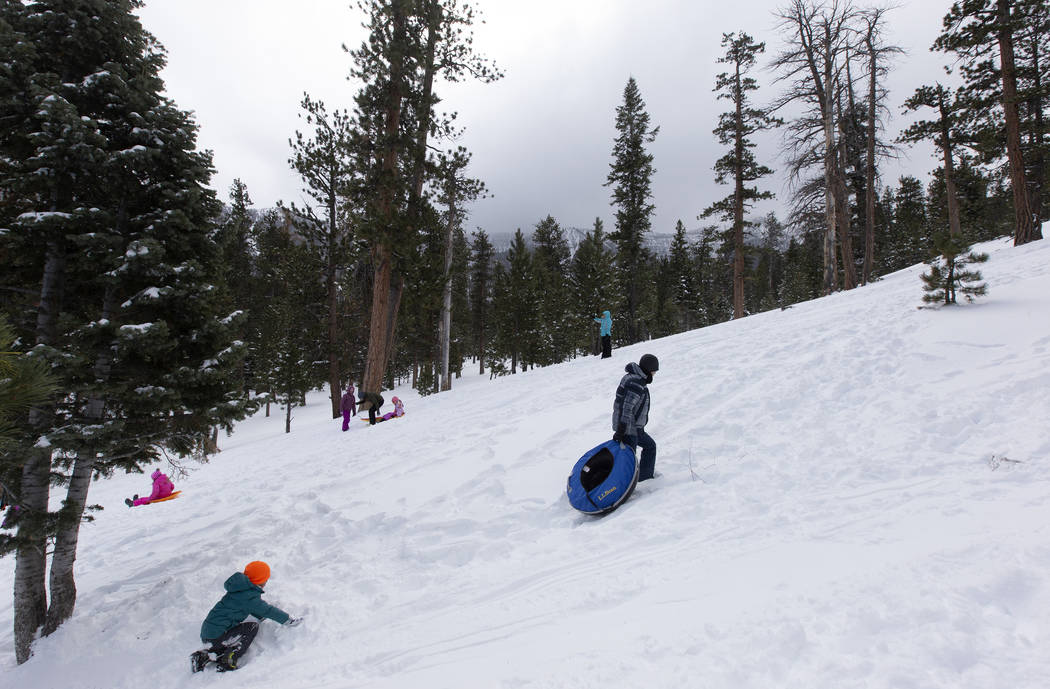 Sledders climb the hill at Upper Lee Meadows on Thursday, Nov. 28, 2019, in the Spring Mountain ...