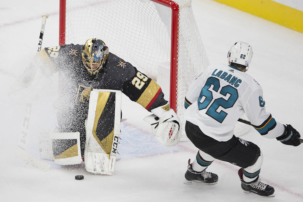 Vegas Golden Knights goaltender Marc-Andre Fleury (29) makes a save against San Jose Sharks rig ...