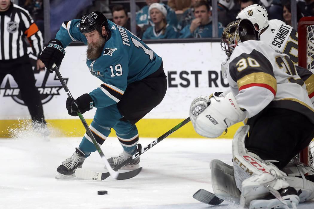 San Jose Sharks center Joe Thornton (19) skates toward Vegas Golden Knights goaltender Malcolm ...