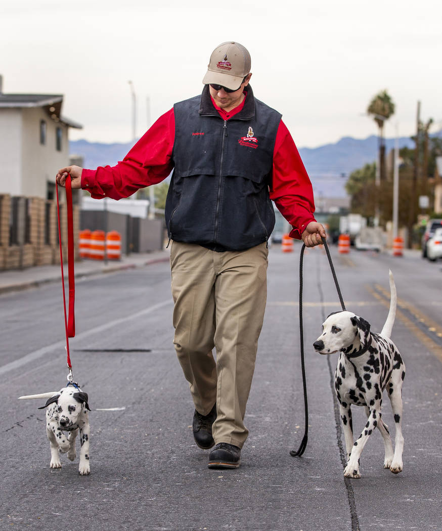 Andrew Lacrosse leads walks up the street with Weiser, left, and April, right, as the world-fam ...
