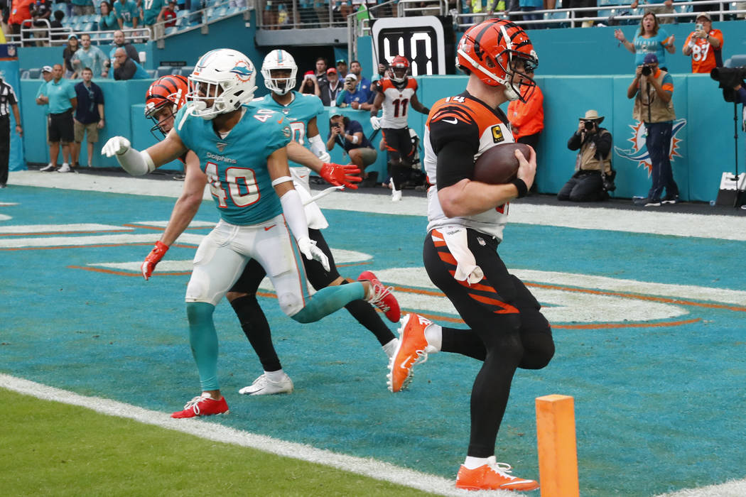 Cincinnati Bengals quarterback Andy Dalton (14) scores a two-point conversion to tie the game, ...