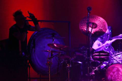 Tool's lead singer Maynard James Keenan or MJK and drummer Danny Carey perform during the Cumbr ...