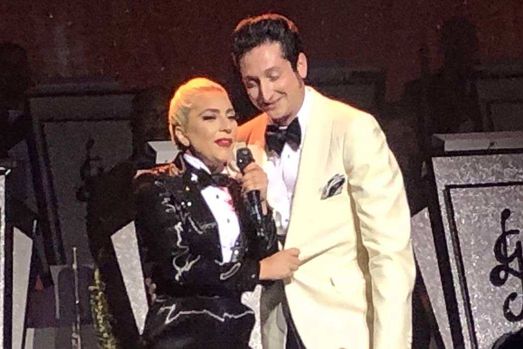 Lady Gaga and Brian Newman perform at Park Theater, June 10, 2019. (John Katsilometes/Las Vegas ...
