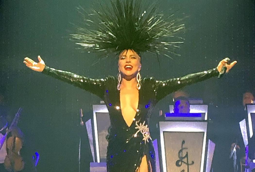Lady Gaga performs at Park Theater on Sunday, June 10, 2019. (John Katsilometes/Las Vegas Revie ...