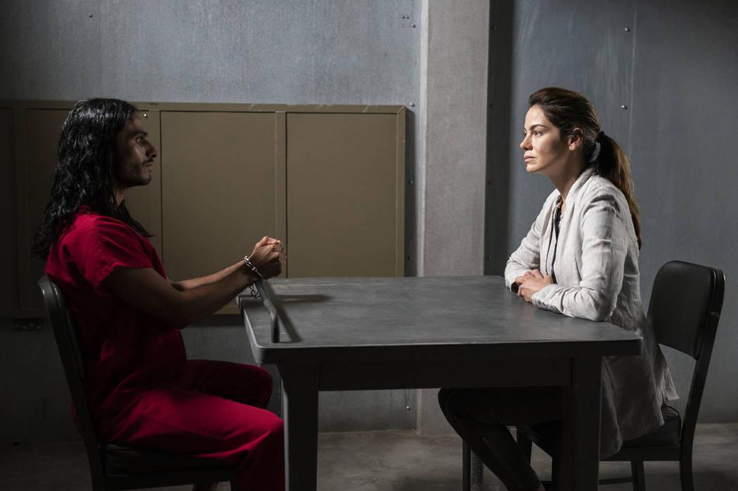 "Mehdi Dehbi and Michelle Monaghan star in ""Messiah."" (John Golden Britt/Netflix)"