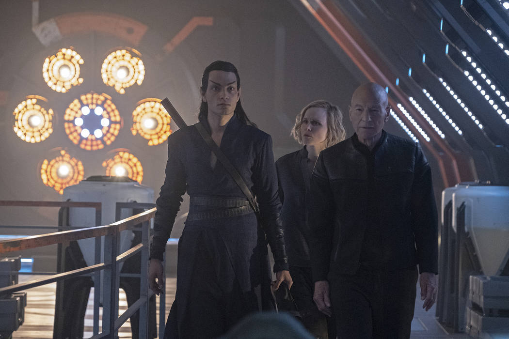 Evan Evagora as Elnor; Alison Pill as Dr. Jurati; Patrick Stewart as Jean-Luc Picard; of the th ...