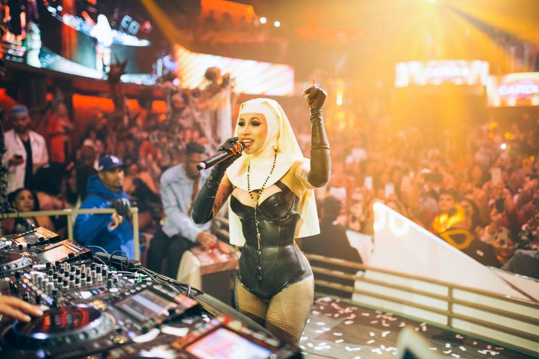 "Cardi B is shown in her nun costume on Halloween during her ""Demon Dome"" party at Kaos Nightclu ..."
