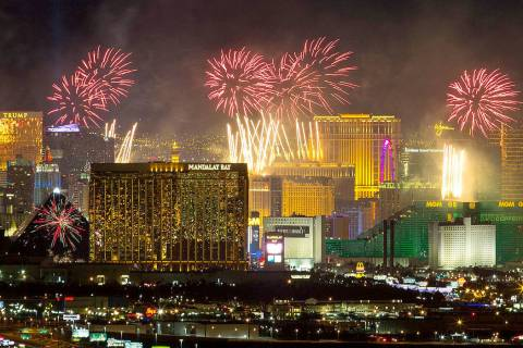 This Dec. 31, 2019, file photo shows New Year's fireworks explode over the Strip. (Las Vegas ...
