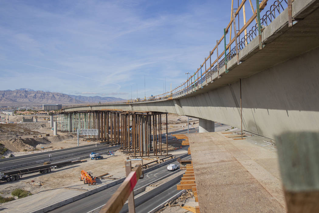 Construction continues on the Centennial Bridge connecting U.S. Highway 95 northbound to the 21 ...