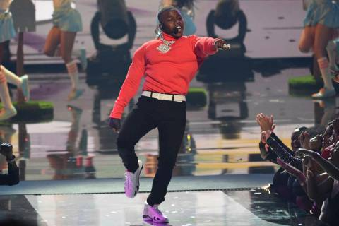 """FILE - In this June 23, 2019 file photo, DaBaby performs """"Sugar"""" at the BET Awards at ..."""