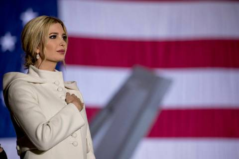 Ivanka Trump stands on stage during the playing of the National Anthem before President Donald ...