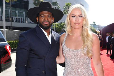 FILE - In this July 10, 2019 file photo, P.K. Subban, left, of the New Jersey Devils, and Linds ...