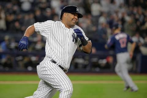 FILE - In this Oct. 4, 2019, file photo, New York Yankees designated hitter Edwin Encarnaci&#xf ...