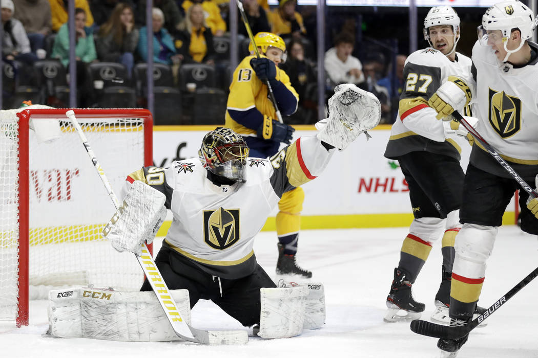 Vegas Golden Knights goaltender Malcolm Subban (30) reaches for a shot in the second period of ...