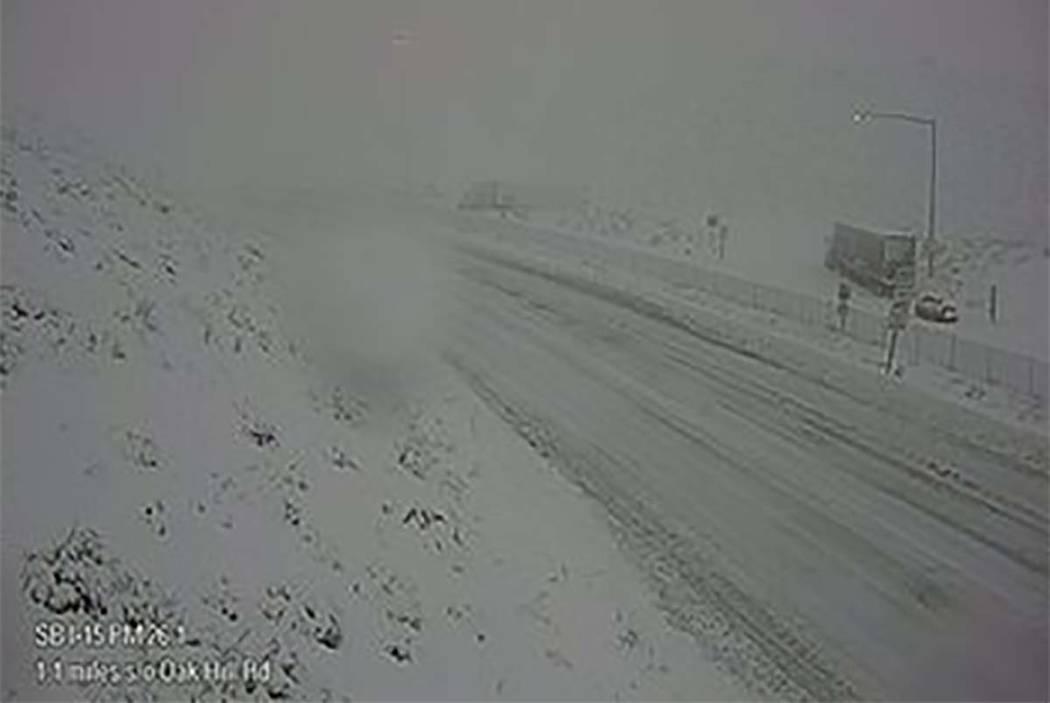 Interstate 15 is is seen at Cajon Pass on Dec. 26, 2019. (California Department of Transportati ...