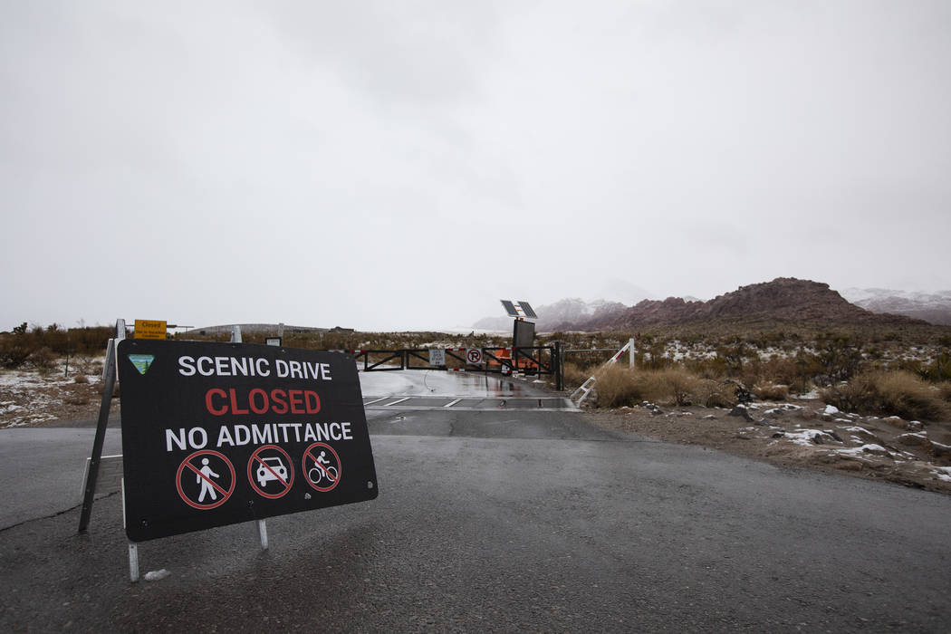 The Scenic Loop at Red Rock Canyon is closed due to weather, including snow, on Thursday, Dec. ...