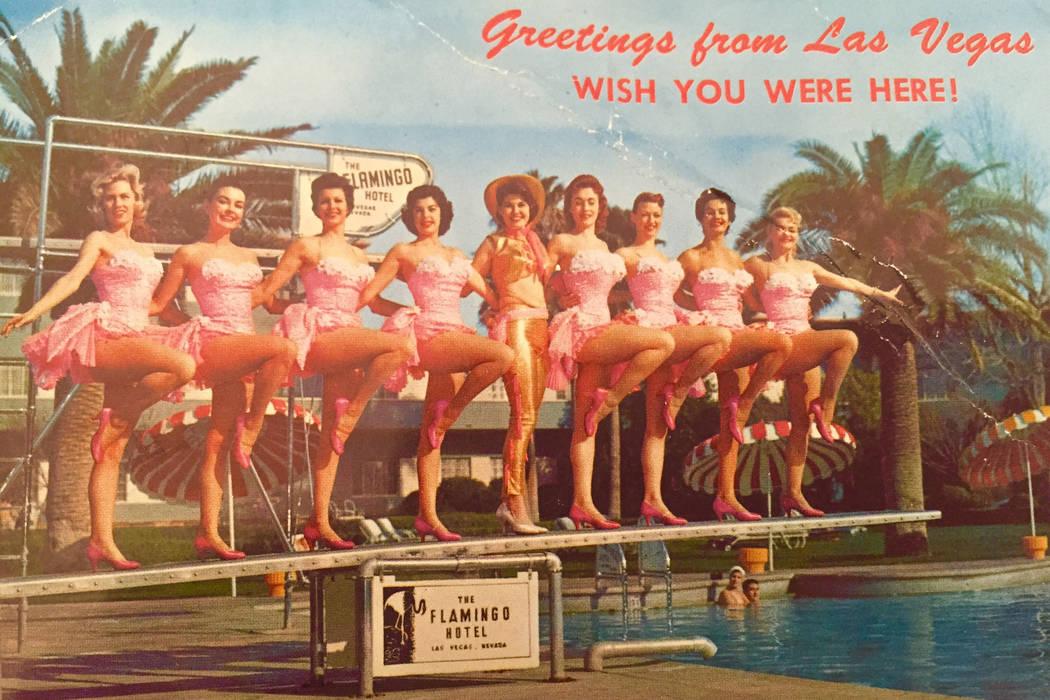 A vintage Flamingo Hotel Las Vegas postcard shows Gloria Mancilla in the far right side. Mancil ...
