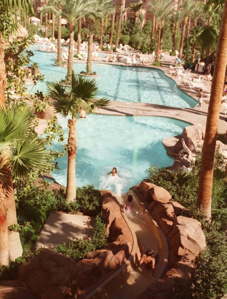 This Oct. 20, 1995 file photo shows the Flamingo Hilton tropical landscape in Las Vegas. (Las V ...