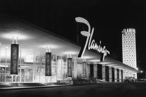 This historic photo shows the Flamingo hotel as it appeared in the 1950s. (Courtesy Nevada Stat ...