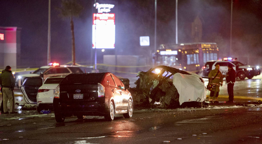A fatal crash occurred at Desert Inn Road and Durango Drive on Thursday, Dec. 26, 2019, in Las ...