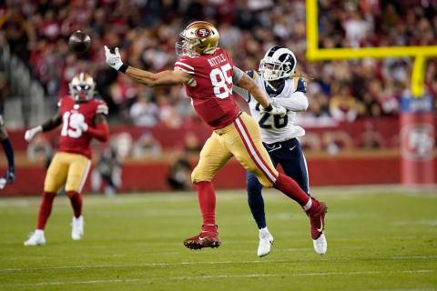 San Francisco 49ers tight end George Kittle (85) cannot catch a pass in front of Los Angeles Ra ...