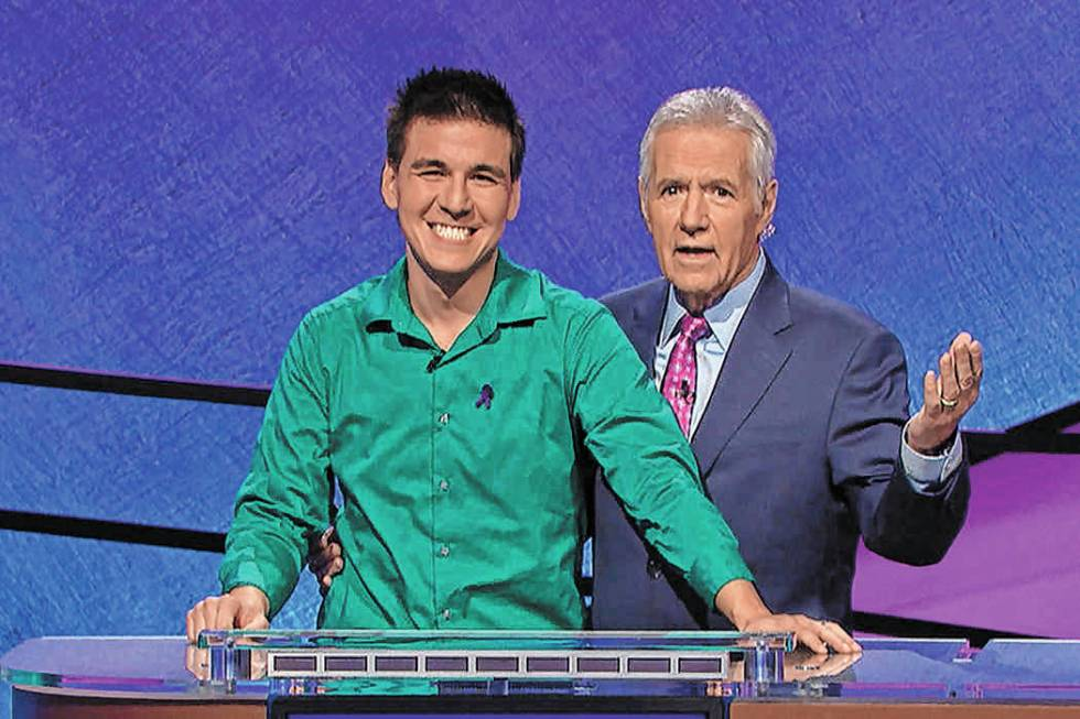 James Holzhauer and Jeopardy! host Alex Trebek (Jeopardy Productions, Inc.)