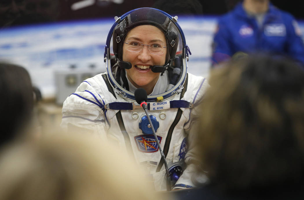 FILE - In this Thursday, March 14, 2019 file photo, U.S. astronaut Christina Koch, member of th ...