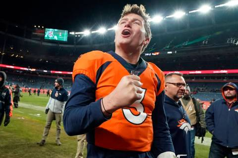 Denver Broncos quarterback Drew Lock reacts after an NFL football game against the Oakland Raid ...
