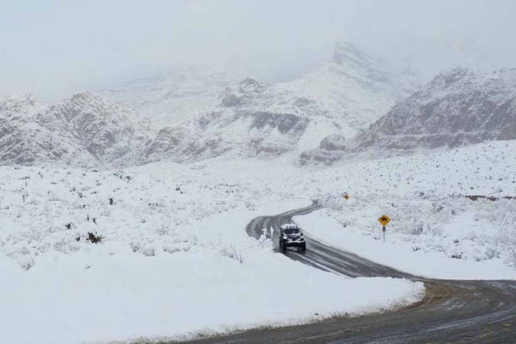 A view of the snow at Red Rock on state Route 159 on Thursday, Feb. 21, 2019. (Mat Luschek/Las ...