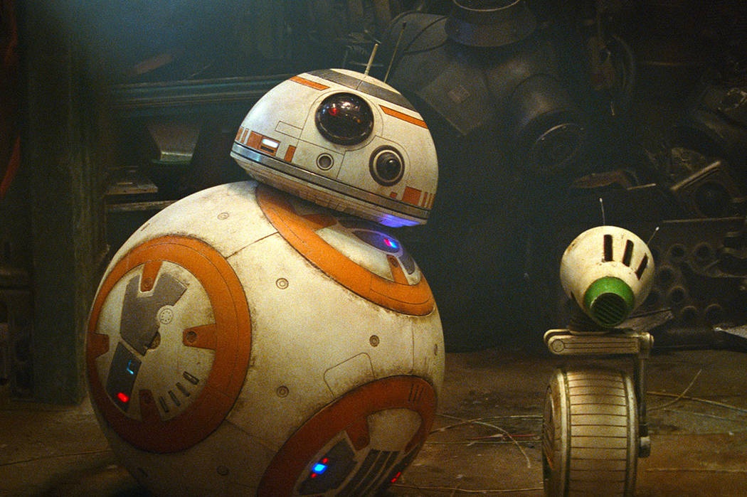 "Droids BB-8, left, and D-O are seen in a scene from ""Star Wars: The Rise of Skywalker."" (Lucasf ..."