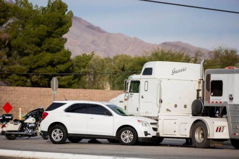 A stolen car crashed into a horse trailer at Flamingo Road and Stephanie Street, near Horseman' ...