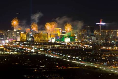 New Year's fireworks explode over the Las Vegas Strip ringing in 2019. (Las Vegas Review-Jour ...