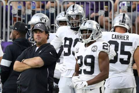 Oakland Raiders defensive coordinator Paul Guenther stares with his arms folded during the four ...
