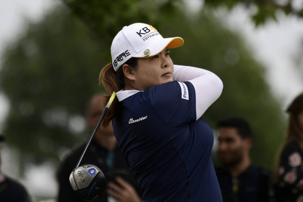 Inbee Park, of South Korea, tees off on the fifth hole during the final round of the Hugel-Air ...